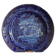 "Staffordshire Transferware Dark Blue 8 1/2 "" Plate Adams"