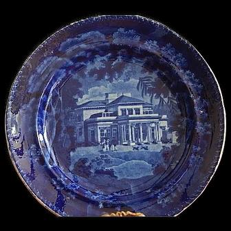 "Staffordshire Transferware Dark Blue 8 1/2 "" Plate Adams"