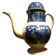 Antique Staffordshire Transferware Coffee pot  Woodman pattern c. 1825 Blue and White Spode
