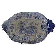 "Antique Staffordshire Transferware Blue Tray  by HULME  ""Vas Florum""  C. 1829"