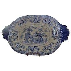 "Antique Staffordshire Transferware Blue Tray  by HULME  ""Vas Florum""  C. 1829"