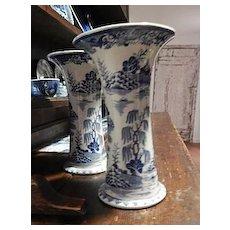 Antique Staffordshire Transfer Masons Vases- 10 inches- Rare-  1888-1910?