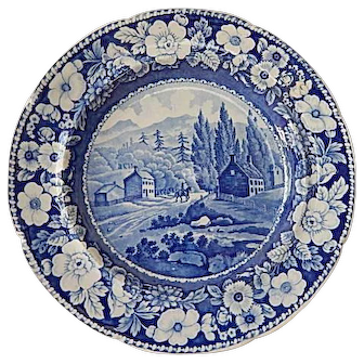 """Antique Historical Staffordshire Transferware Blue Plate- """"View On The Road To Lake George""""- A. Stevenson- C. 1826"""