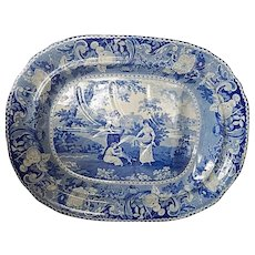 Historical Staffordshire Transferware Platter- 'The Gleaners'-c. 1824- Henshall Williamson & Co- excellent condition