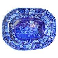 Historical Staffordshire Transferware Dark Blue Large Platter-'Birds and Fruit'-c.1823