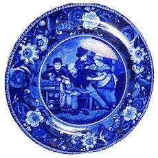 Historical  Staffordshire  Transferware  'Wilkie'  Plate- 'The Valentine' - Clews- C.1820