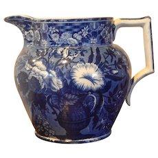 Historical Dark Blue Staffordshire Transferware Pitcher- Riley- Circa 1824-