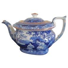 Charming Staffordshire Transferware Blue and White Tea Pot- circa 1830-