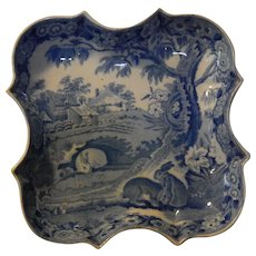 """Historical Staffordshire Transferware  """"GRAZING RABBITS""""  shaped dish- everyone asks- here it is!"""