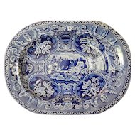 """Excellent Staffordshire Transferware Stevenson """"Beehive and Urns"""" Platter  17"""" x 13""""  Excellent Condition"""