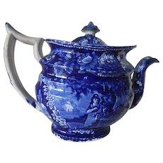 Huge Staffordshire Transferware Dark Blue Teapot- circa 1830