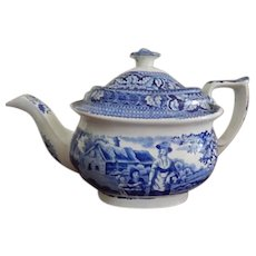 Antique Staffordshire Transferware Rural scene Teapot- c. 1830- Blue and White