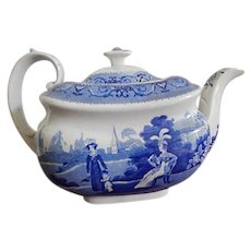 Antique Staffordshire Transferware Tea Pot Rural Scene c, 1830 Rare