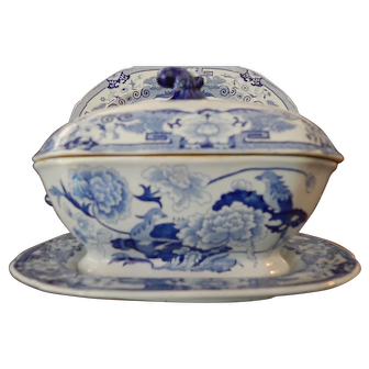 "Antique Staffordshire Transfer Masons Ironstone Gravy Tureen- 'Blue Pheasant""- c.1815- Excellent  Condition"