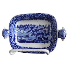 Staffordshire Transfer Small Tray- Marked Clews- Dark Blue- C. 1825- St, Catherine's Hill-Possibly from a child's set
