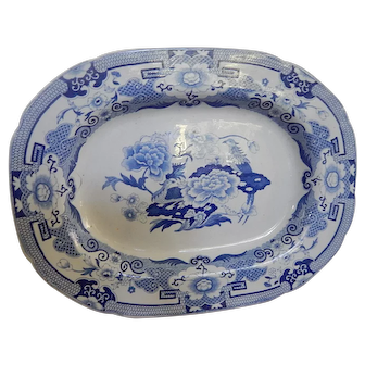 Antique Staffordshire Transferware  Transfer Platter or Tray- C.1815- Masons Ironstone- 'Blue Pheasant'