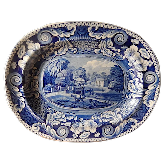 Antique Staffordshire Transferware Platter-Riley Large Scroll Border- c.1825 Very Good Condition- Dalguise, Perthshire
