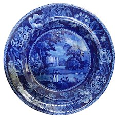 Antique Staffordshire Transferware Deep Blue Plate- R Hall C.1825- Excellent Condition