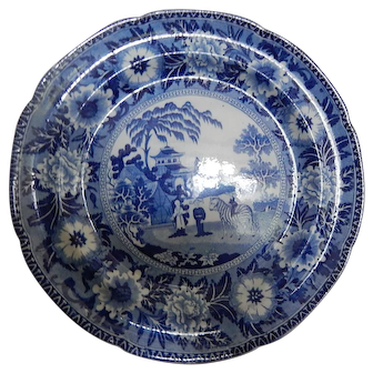 Antique Staffordshire Transferware Transfer Dinner Plate- Zebra Pattern- Marked Rogers- c 1820
