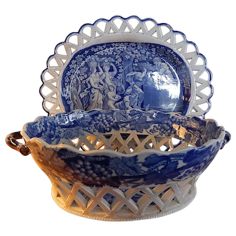 """Staffordshire Transfer Pearlware Reticulated Basket and Tray """"Wine Makers"""""""