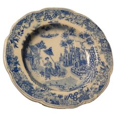 """Rare Antique Transfer Staffordshire Pearlware """"Queen of Sheba"""" Child's Plate"""