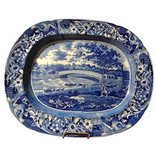 Historical Staffordshire Transferware  Blue Platter  'Upper Ferry Bridge Over The River Schuykill'- Joseph Stubbs C. 1825