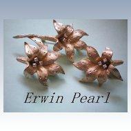 Erwin Pearl Flower Lily Set ~  Brooch & Earrings