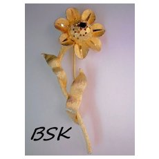 Signed BSK Golden Flower Brooch