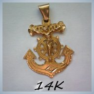 14K Gold U.S. Navy Anchor with Crucifix