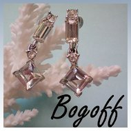 Bogoff Crystal Rhinestone Dangle Earrings