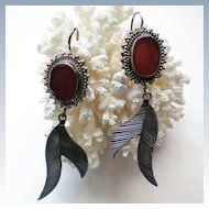 Red Jasper and Sterling Silver Dangle Earrings