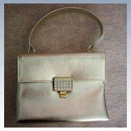 Walborg Silver Leather Rhinestone  Envelope Purse / Bag