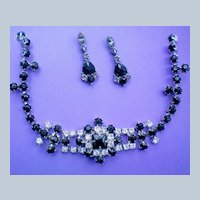 Black and Crystal Necklace & Pierced Dangle Earrings