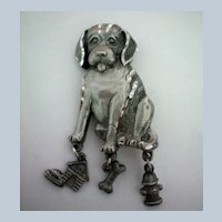 Dog with Bone, Fireplug and House  Pin by Spoon
