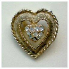 Gold tone Heart with Rhinestone Center