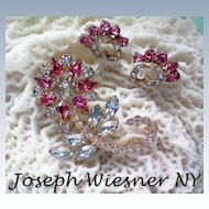 Joseph Wiesner of NY Floral Brooch & Earrings