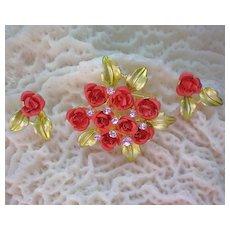 Metal Enamel Bouquet of Roses Brooch & Earrings