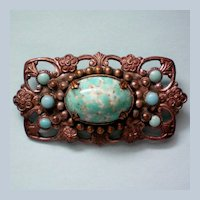 Pot Metal Turquoise Brooch