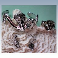 Cobra Snake Bracelet, Ring & Earrings