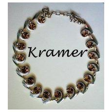 Signed Kramer Amber Rhinestone Choker Necklace