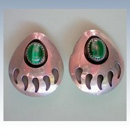 Malachite Bear Claw Native American Earrings