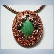 Floral Framed Green Stone Pendant with Snake Chain
