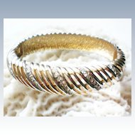 Sparkling Rhinestone Open Weave Hinged Bangle Bracelet