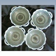 Four Opalescent Moonstone Hobnail Handled Bowls 1940's