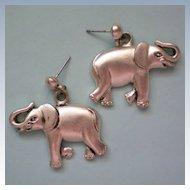 Lucky Elephant Silver Tone Earrings