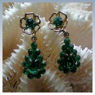 Delicate Emerald Green Dangle Screw Back Earrings