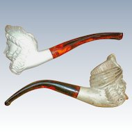 Two Hand Carved Meerschaum Pipes in Original Box