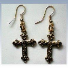 Gold tone Cross Pierced Earrings