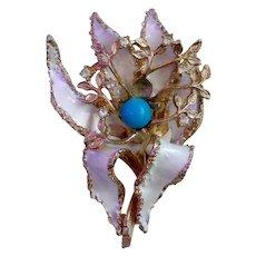 Coro Enamel & Rhinestone Orchid or Iris Flower Brooch