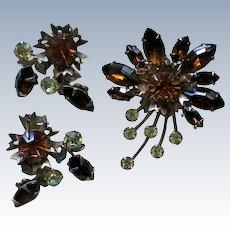 Amber, Brown & Pale Green Rhinestone Brooch / Earrings